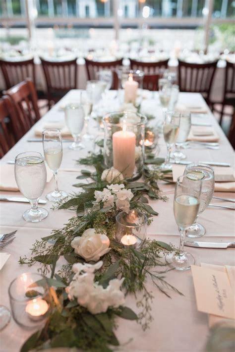310 Lakeside wedding reception table garland & decor
