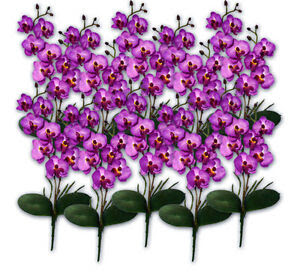 10X 17\u201d Purple Phalaenopsis Artificial Silk Orchid Flower