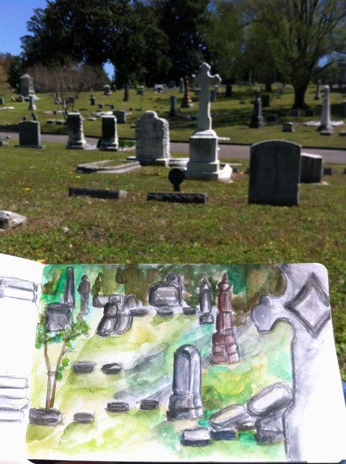 Tombstones watercolor