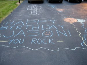 A birthday wish in sidewalk chalk