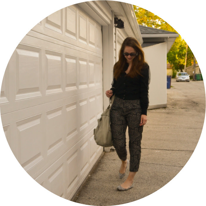 black+navy, patterned pants, uo pants, mixed neutrals, what to wear with, acne fran cardigan, chiffon cardigan