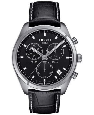 Tissot Men's Swiss Chronograph Tissto PR 100 Black Leather