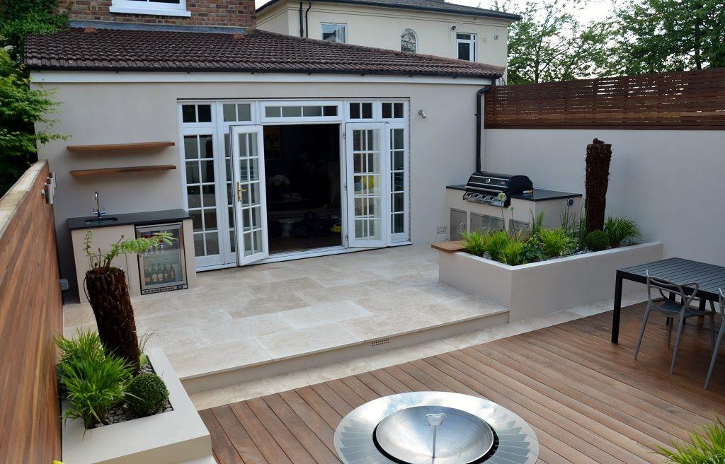 Modern garden design outdoor kitchen London designer Cat ...