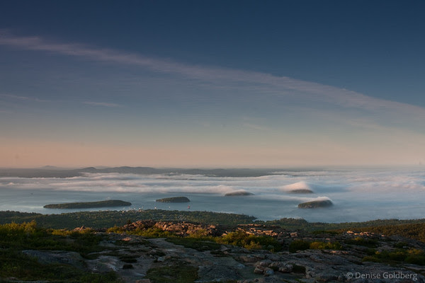 from Cadillac Mountain, clouds over islands