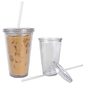 Amazon.com - Iced Coffee Cup, 16 oz Eco Cup on Ice - Lidded Cold Cup With Straw