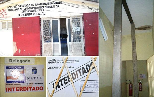 Prédio da 11ª DP foi interditado pela Defesa Civil e Vigilância Sanitária. Escoras de madeira reforçam o teto, que ameaça desabar (Foto: Divulgação/Polícia Civil)