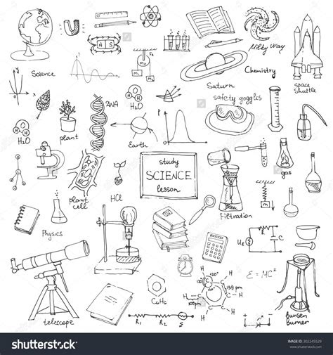 freehand drawing school items   school science