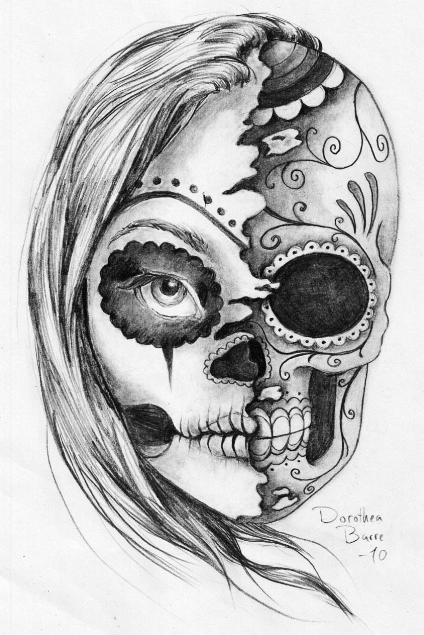 The Sugar Two Face Skull Tattoo Sketch Design By Dorothea Barre