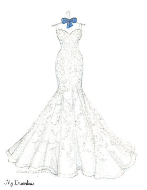 Dreamlines wedding dress sketch given as a wedding day