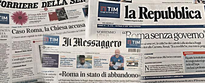 """Virginia Raggi, l'Osservatore Romano e il pezzo sul maltempo che diventa """"caso"""""""