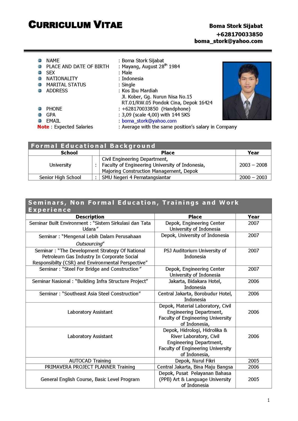 Contoh Membuat Curriculum Vitae Yang Baik Dan Benar Best Resume