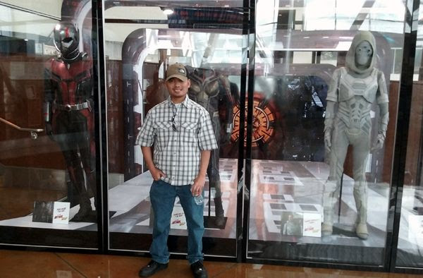Posing with the Ant-Man, Wasp and Ghost costumes used in ANT-MAN AND THE WASP...on July 8, 2018.