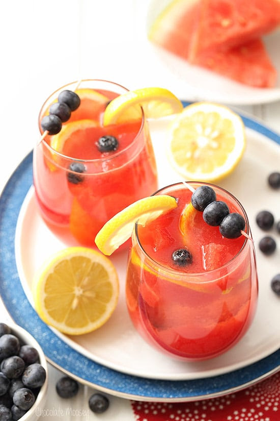 Watermelon Blueberry Sangria made with white wine