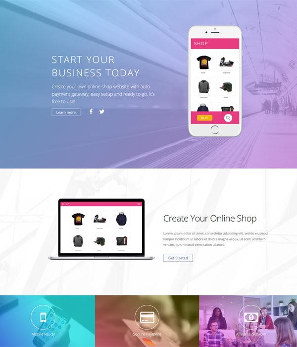 Product Shop Builder layout
