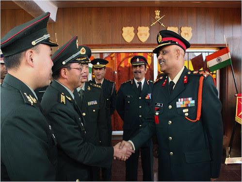Indian Brigadier SK Sengar greeting his Chinese counterpart at the Border Personnell Meeting held at Natu La on Sunday by Chindits