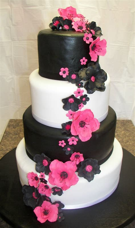 Hot Pink and Black Wedding   All gumpaste fantasy flowers