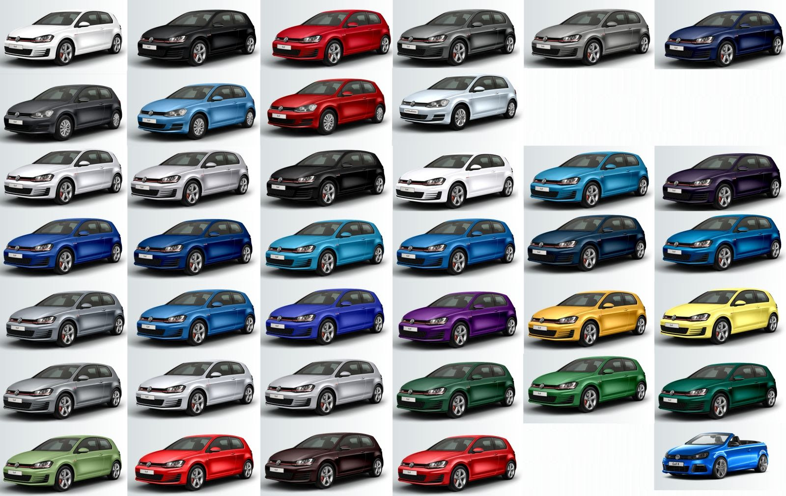 the full colour spectrum of the vw golf 7 used daewoo cars. Black Bedroom Furniture Sets. Home Design Ideas