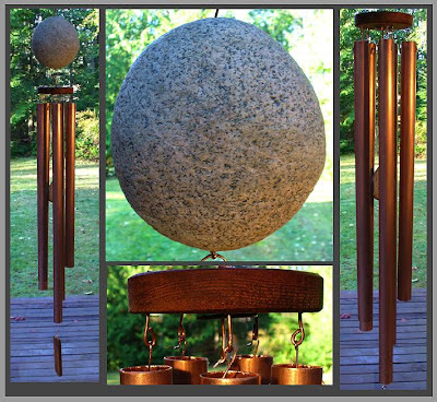 wind chime, beach stone, copper, huge, large windchime