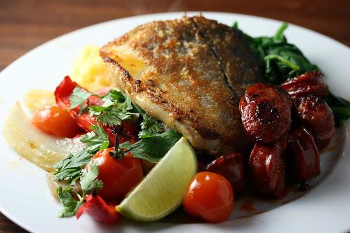Haddock with chorizo and polenta