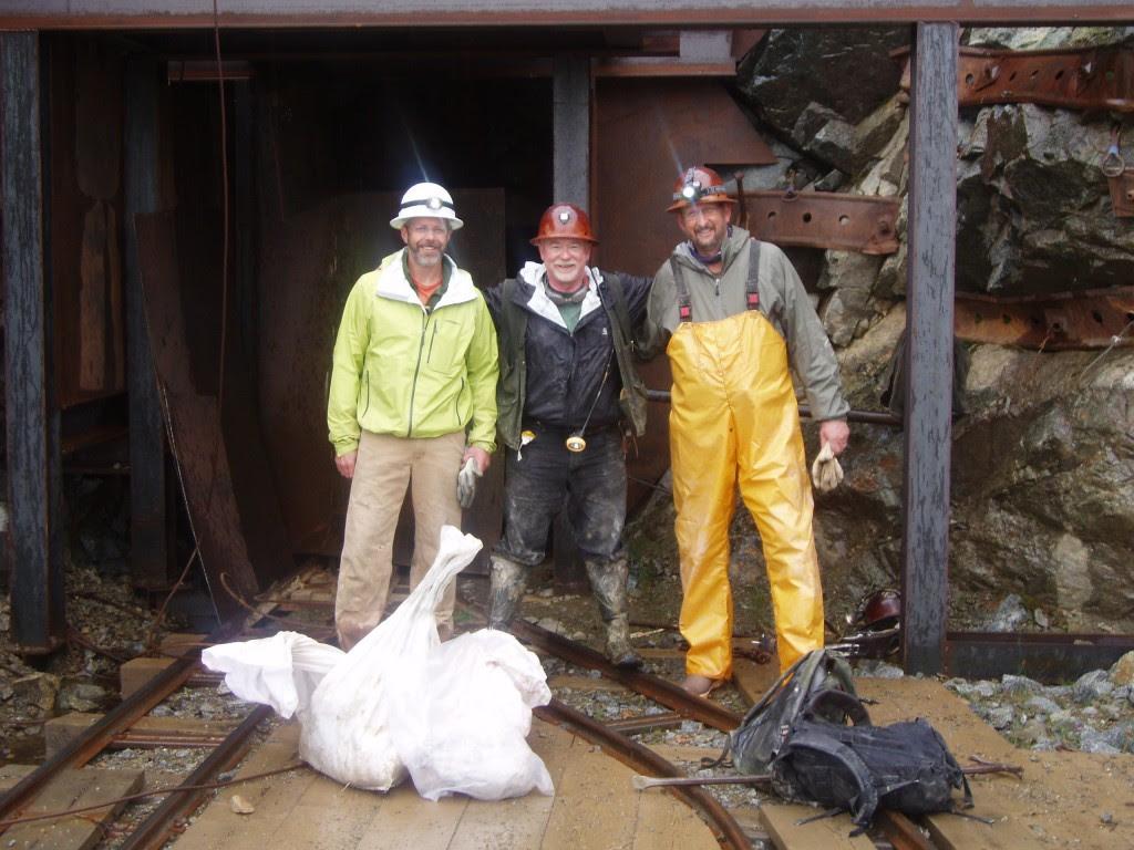 Portal of the Coleman Mine at Willow Creek. L-R Consultant – Bill Burnett, Pete Parsley – Chief geologist Gold Torrent Inc., Ken Cunningham – Miranda Gold