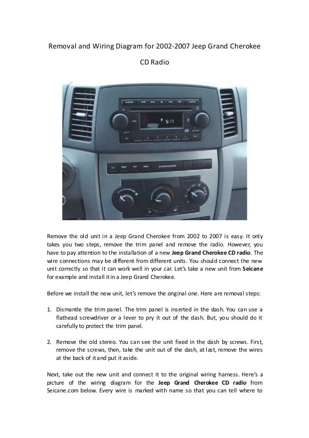 Removal and wiring diagram for 2002 2007 jeep grand ...