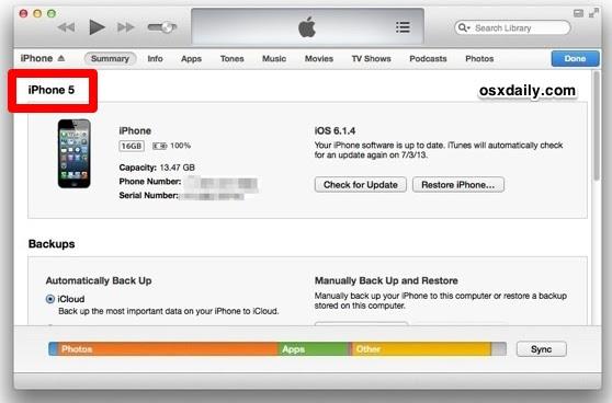 Find iPhone model in iTunes