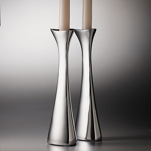 Nambe Tri-Corner Candlesticks - contemporary - candles and candle