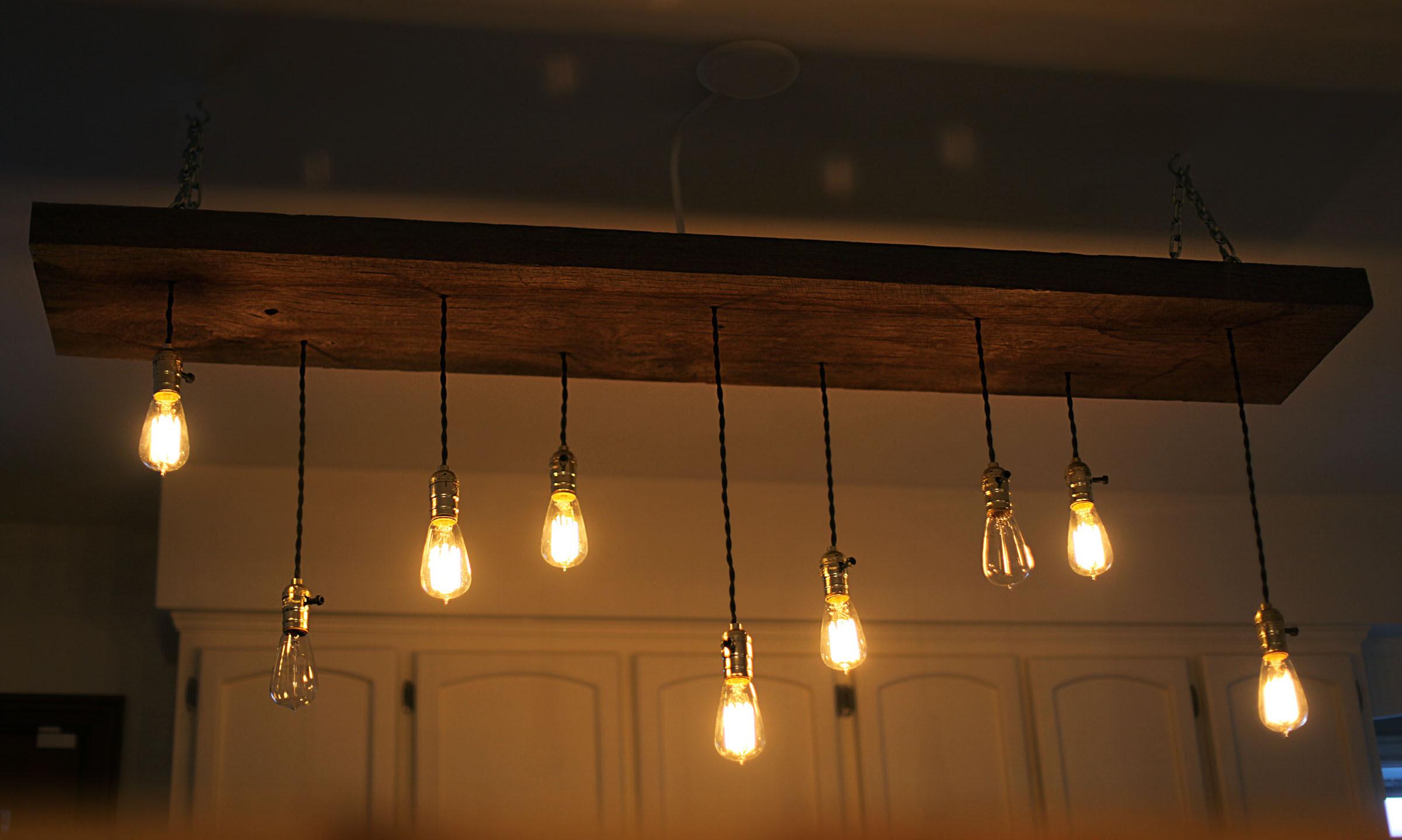 DIY reclaimed lumber hanging Edison bulb chandelier
