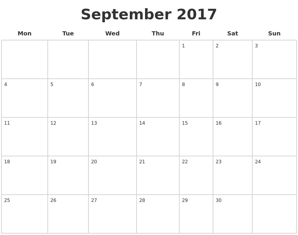 September 2017 Blank Calendar Pages PDF39;s