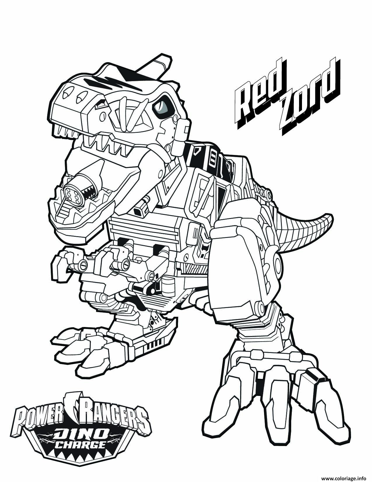 Coloriage Power Rangers Dino Charge Red Zord Jecoloriecom
