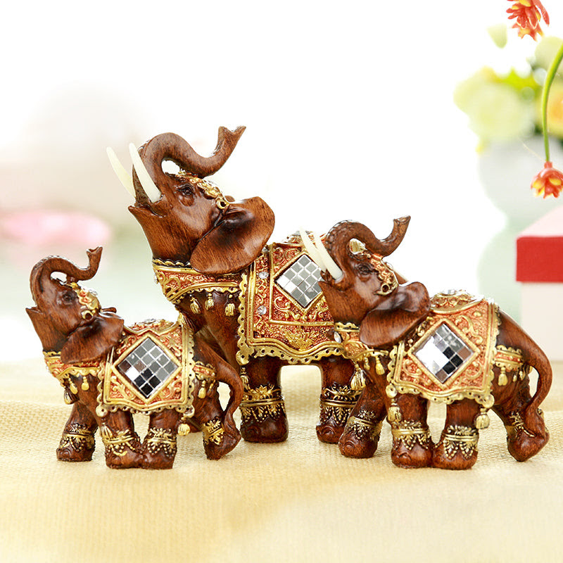 Q Glory A Set Elephant Statues Home Decoration Accessories Resin