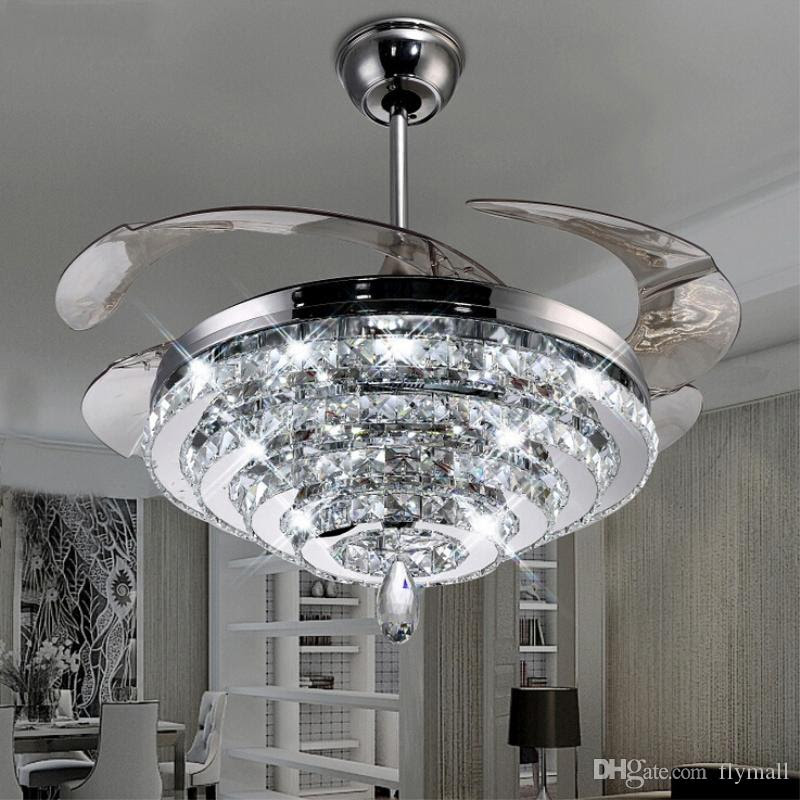 led crystal chandelier fan lights invisible