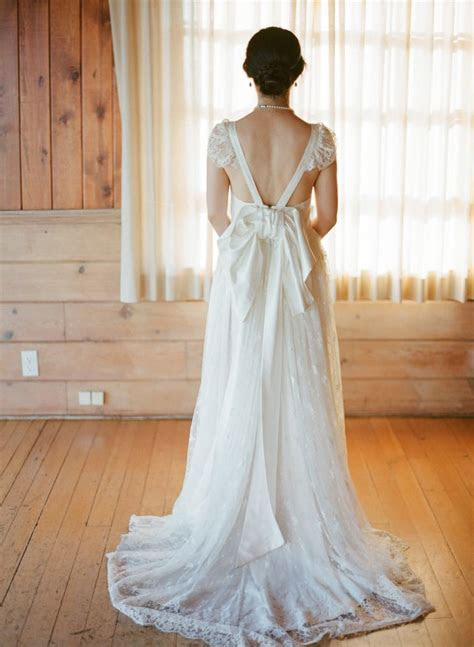 wedding dress open back with bow