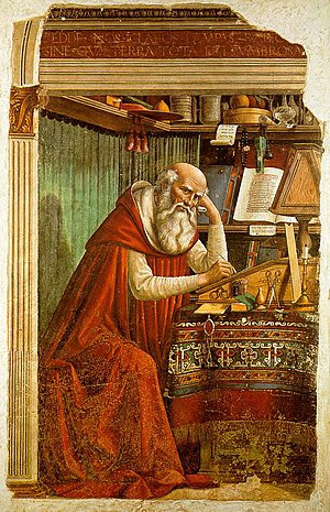 Saint Jerome in his Study, fresco by Domenico ...