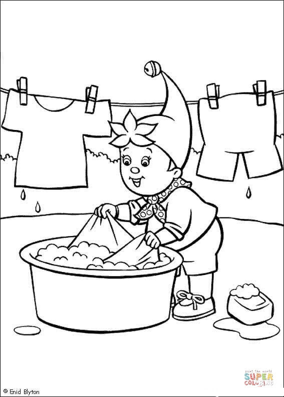 Download Noddy Washes The Clothes coloring page   Free Printable Coloring Pages