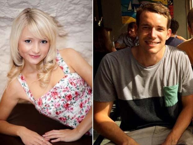 Imagens de arquivo mostram Hannah Witheridge, de 23 anos, e David Miller, de 24 anos, que apareceram mortos em ilha da Tailândia nesta segunda (15) (Foto: AFP PHOTO/FOREIGN AND COMMONWEALTH OFFICE)