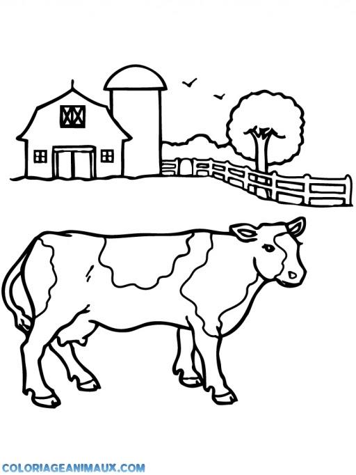 Coloriage Vache à La Ferme Des Animaux à Imprimer