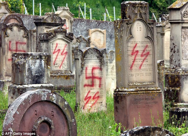 The Anti-Defamation League's Global 100 Index found someone to be anti-Semitic if they answered 'probably' or 'definitely' true to six or more of 11 stereotypes about Jews offered on the survey. Above, desecrated tombstones in the Jewish cemetery of Herrlisheim, France