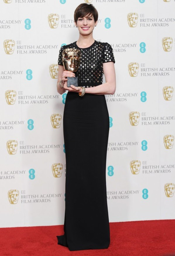 9 evening Anne Hathaway wearing Burberry to the EE British Academy Film Awards in London 10th February