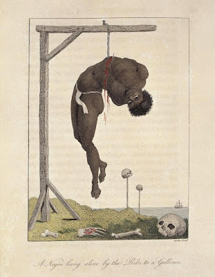 Negro hung alive by the Ribs to a Gallows