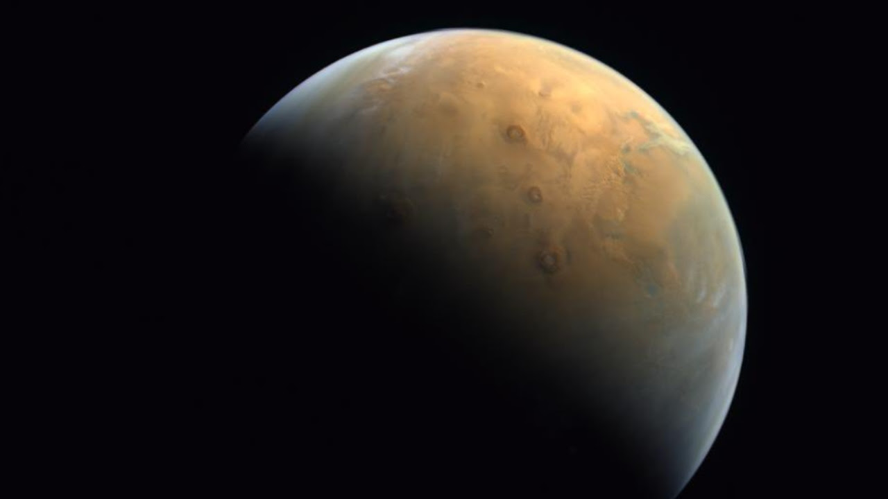 UAE's Hope Probe's first image of Mars. Image credit: twitter @HHShkMohd