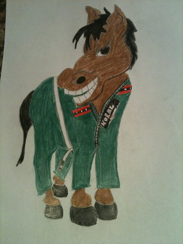 BJJ Horse - Jonny Otway - drawn by gf Kay - heavy-strong-hates being on back - green Koral