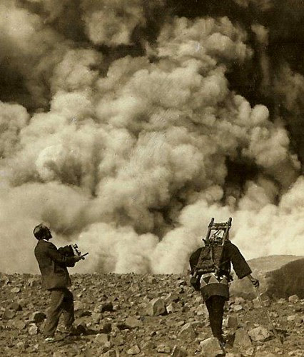 SHOOTING THE VOLCANO IN OLD JAPAN  -- Photographer and Coolie Living Dangerously by Okinawa Soba