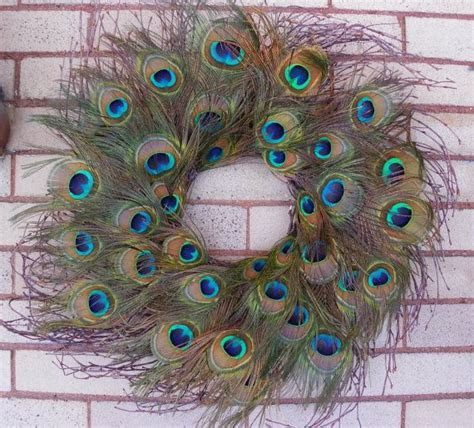 Peacock Feather Wreath, Rustic Wreath, LARGE Peacock Eyes