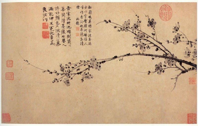 墨梅圖。(取自藝術迷網http://fansart.com/article_1831/momeitu_wangmian.html)
