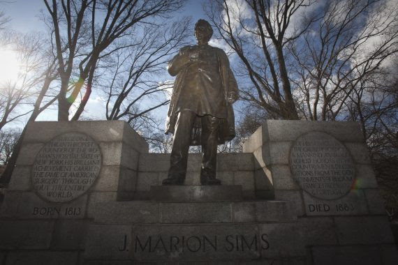 The Central Park statue of Dr. James Marion Sims is pictured along 5th Ave in the Manhattan borough of New York