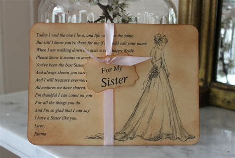 SISTER of the Bride Thank You Card Keepsake Poem