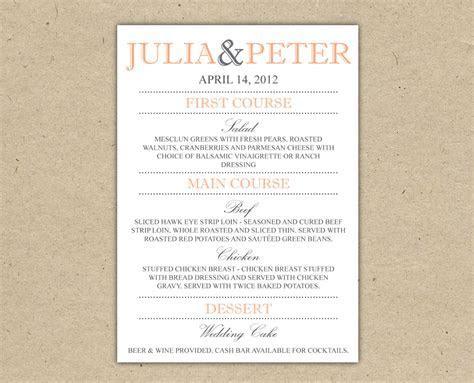 4 Best Images of Wedding Dinner Menus Printable   Wedding