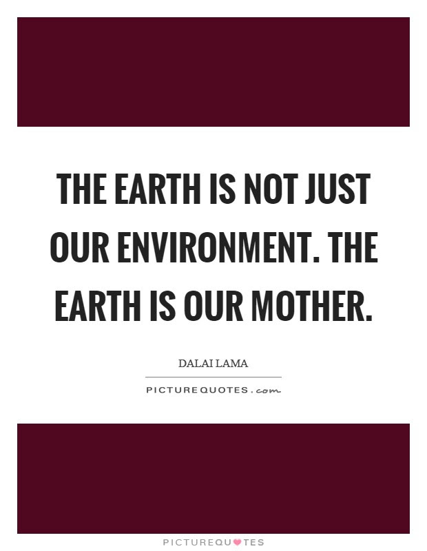 The Earth Is Not Just Our Environment The Earth Is Our Mother