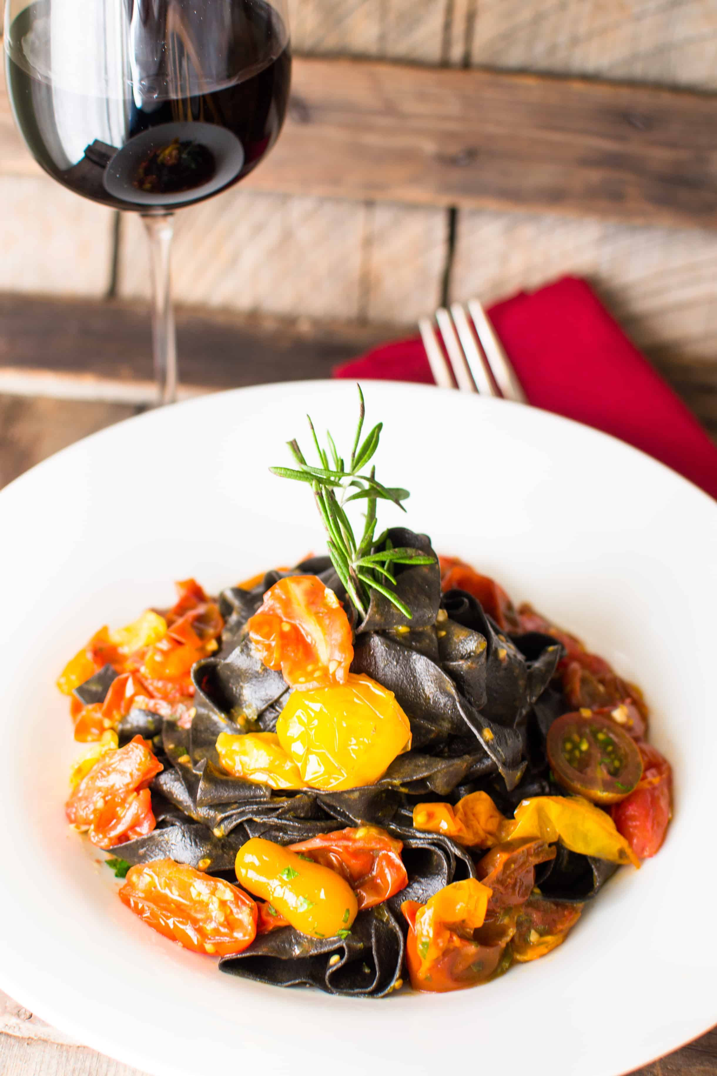 Squid Ink Pasta with Heirloom Cherry Tomatoes | Hunger ...